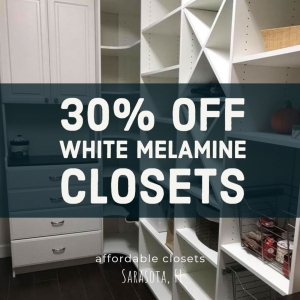 30% Off White Melamine Closets