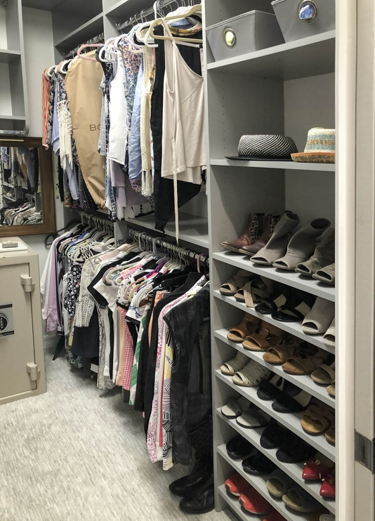 White melanin closet. Keep your bedroom closet organized with our custom organizers.