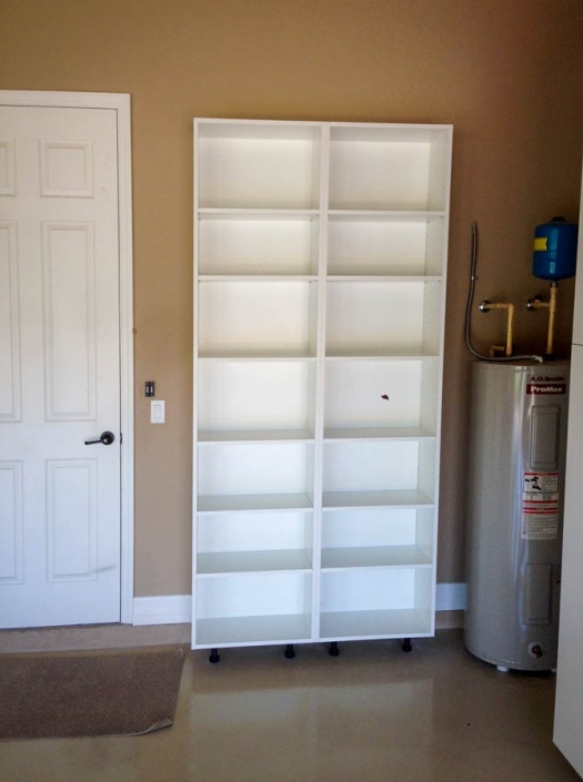 Custom built shelving units.